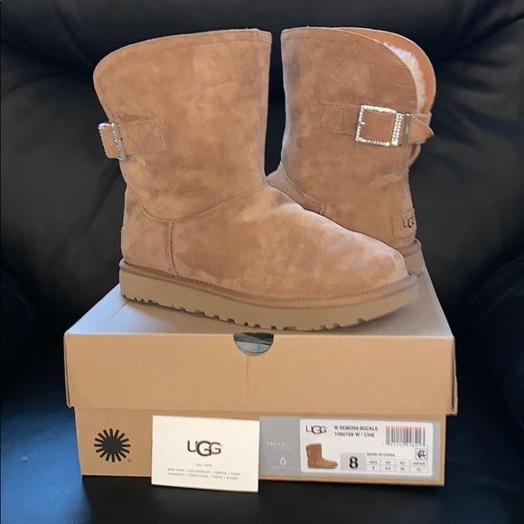 0e315f8c946 UGG Shoes | Remora Tan Suede Buckle Boots W Rhinestones | Poshmark